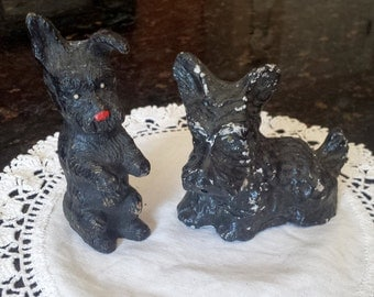 Pair of Chalkware Scottie Dog Figures
