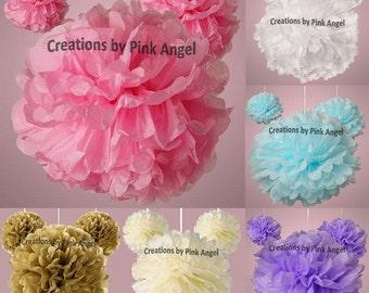 Set of 6 Pink Pom Poms, Pink Tissue Pom Poms, Light Pink Tissue Pom Poms, Pink Wedding Pom Poms