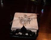 Fleur de lis Square Resin Coaster Holder (#9000)