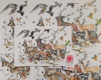 A Celebration of British Wildlife, British wildlife, Original art, Animals, British animals, birds, Prints
