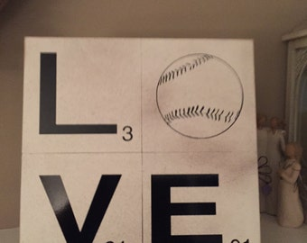 Scrabble Baseball Sign