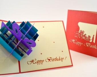 Birthday Card - Happy Birthday Card - Pop Up Card - Greeting Card - Birthday Card-Card for a Birthday-Birthday Present Box- 3d Birthday card