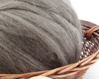 Grey Gotland Wool Top Roving - Undyed Natural Spinning & Felting Fiber / 1oz