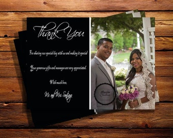 Wedding Thank You Card, Black and White