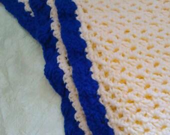 Navy Blue and Cream Baby Blanket Crib Blanket