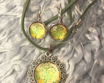 Tree of life yellow green pendant and silver earring set