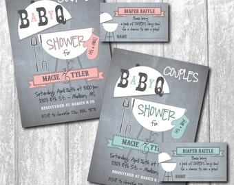 BABY Q Invitation - BabyQ Baby Shower Invitation - Backyard BBQ Invite - Co-Ed Baby Shower Invite - Digital File -with Raffle Ticket