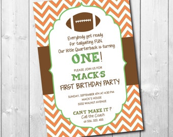 "Football Birthday Invitation..""Little Quarterback""/DIGITAL FILE/printable/wording, age & colors can be changed"