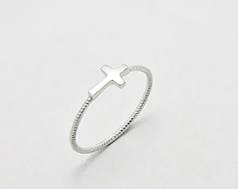 Twisted 925 sterling silver cross ring