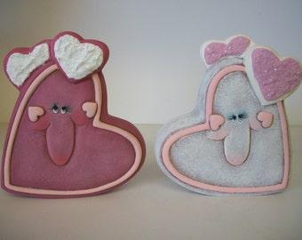 ceramic Valentine cookie hearts set of 2