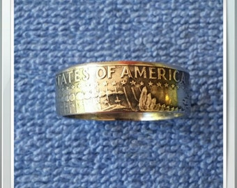 Kennedy Half Dollar 1974 Coin Ring Size 12 Handcrafted