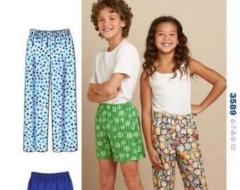 Kwik Sew 'Learn-to-Sew' sewing pattern K3589 Boys/Girls Pajama Pants and Shorts, Childrens Sleepwear - new and uncut