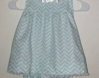 Sleeveless Dress with Diaper Cover, Green Dress, Green Chevron,