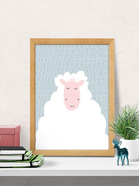 Sheep Wall Art Home Decor ~ Sheep print nursery wall art decor room
