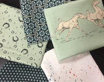 Curated Fat Quarter Bundle featuring Purebred Horses, Stars, and Horseshoes in Bluegrass Green - 5 Fat Quarters