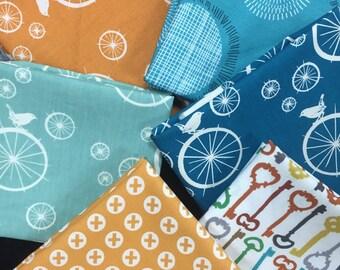 Vintage Bird Fabric - Curated Fat Quarter Bundle featuring Birdie Spokes by Birch Fabrics - 6 Fat Quarters