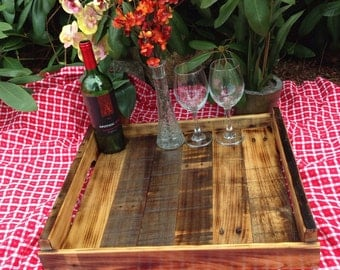 Handcrafted wood tray from reclaimed wood #6
