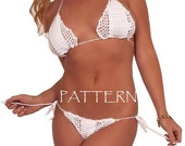 Crochet Bikini PATTERN. Tutorial.Swimsuit Pattern.Brazilian bikini pattern.Crochet Pattern.White crochet bikini.Crochet bathing suit