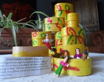 12 worry doll Boxes Pack Tiny Worry Dolls, 3/4 inch Trouble dolls, Mayan Guatemalan