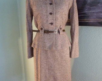 Rothmoor mocha silk 1950's suit, jacket and pencil skirt with back pleat