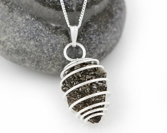 Dinosaur Bone Fossil Necklace - Sterling Silver