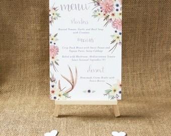 Wedding Table Menu's Wedding Menu Boho Table Card Rustic Wedding Table Decoration Stag Boho Wedding Table Menu Boho Wedding Floral Menu