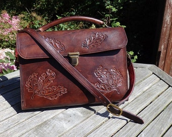 Leather tooled laptop bag