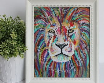 Lions Don't Lose Sleep Over the Opinions of Sheep | Multicolor Lion | Lion Print | Colorful Lion Painting | Two Pockets Art and Design