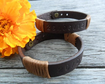 Custom couple matching jewelry Brown leather couples bracelet His & hers gift Love leather cuff Boyfriend Girlfriend wristband Stamped cuff