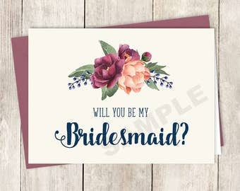 Will You Be My Bridesmaid Card DIY Printable /Burgundy Peony Berry Bouquet, Peach Blush Pink Ranunculus, Fall Wedding ▷ Instant Download PDF