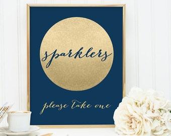 Sparklers Sign DIY / Wedding Sparkler / Navy and Gold Wedding Sign / Metallic Gold Sparkle Circle / Champagne Gold ▷ Instant Download JPEG
