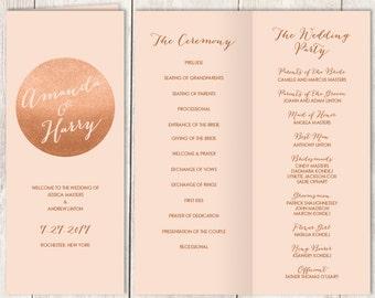 Rose Gold Folding Wedding Program DIY / Gold Sparkle Glitter / Rose Gold and Coral / Bridal Party, Schedule, Ceremony Program ▷Printable PDF