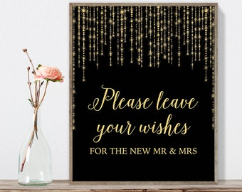 Please Leave Your Wishes Sign DIY / Gold Wedding Sign / Great Gatsby, Bokeh String Light / Black and Gold Calligraphy ▷Instant Download JPEG