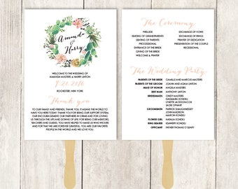 Rustic Wedding Program Fan DIY / Cactus Succulent, Coral Flower Wreath, Mexican Fiesta  ▷ Printable {or} Printed *** ASSEMBLY REQUIRED