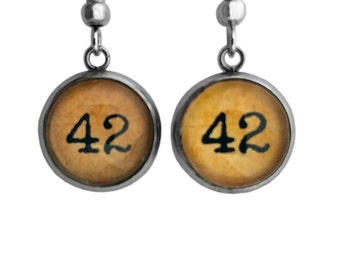"Hitchhikers Guide to the Galaxy Earrings ""42"""