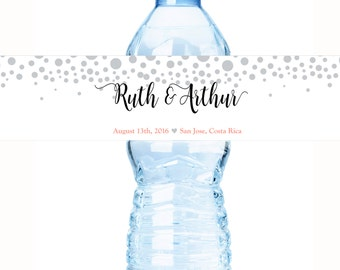 30 Wedding Water Bottle Labels, Personalized Water Bottle Labels, Waterproof Label, Bridal Shower Labels, Welcome Bags, Wedding Labels