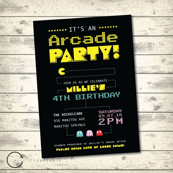Arcade Birthday Party Invitation Pacman by CarlisleConcepts