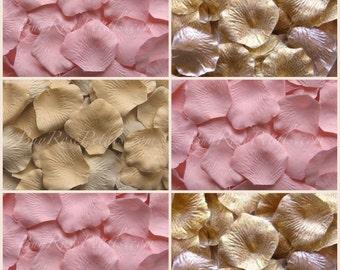 Blush Gold Rose Petal Blend - Silk Rose Petals for Weddings, Flower Girl Baskets