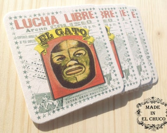 "Lucha Libre Coasters ""El Gato"" (The Cat) - Set of 4"