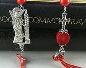 Red Bamboo Coral Chaplet Paternoster Rosary with St. Barbara #1