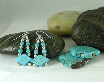 Turquoise Diamond Earrings - Aztec - Native American Cuff - Southwest