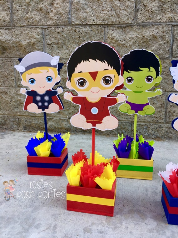 Baby Super Hero Centerpiece For Baby Shower By