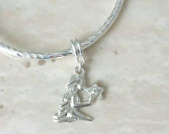 Virgo Virgin Rhinestone Charm Silver Plated Lined Bangle Bracelet 7.5 Inches