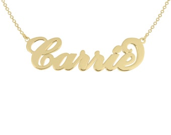 """SALE 14K Solid Gold Nameplate Carrie Style name  - Personalized """"Carrie"""" Name Necklace any name necklace  14k gold nameplate"""