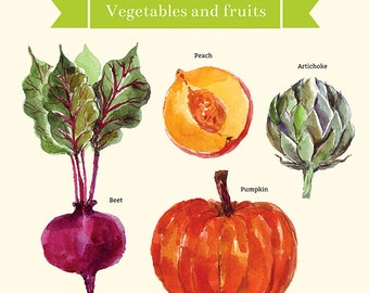 Collection of WATERCOLOR vegetables and FRUIT. Fine art PRINTS. Beautiful print for living room or dinner room.