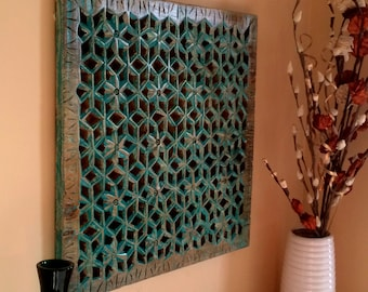 Rustic Carved Wall Panel Solid Wood Panel Hand Carved Wooden Wall Panel Carved Wood Wall Decor - Beach Turquoise