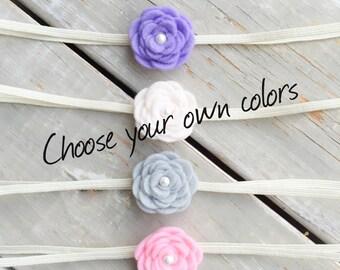 Felt Flower Baby Headband, Baby Headband, Choose your colors, Baby Headband Set, Baby Flower Headband, Felt Headband, Flower Headband