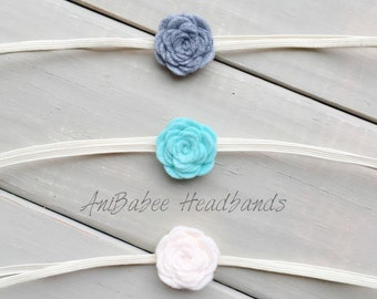 Teal Felt Flower Headbands, Baby Headband, Baby Flower Headband, Felt Flower Headband, Felt Flowers, Felt Flower, Gray Felt Flower Headband