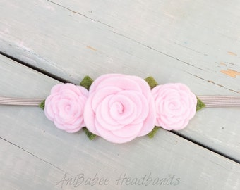 Pink Felt Flower Headband, Baby Headband, baby flower headband, Felt Flower Crown Headband, Flower Headband, Felt Flowers, Newborn Headband