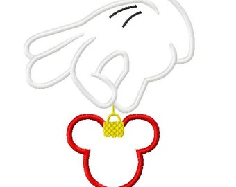 Character Inspired Glove with Mouse Christmas Ornament Embroidery Applique Design